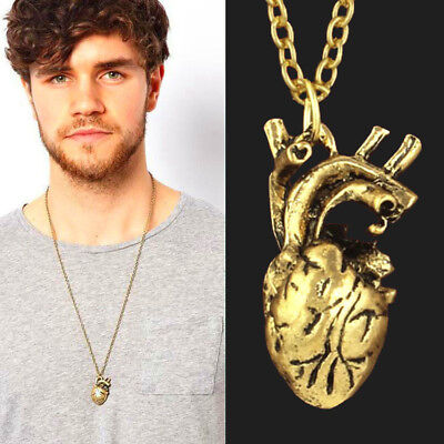 Anatomical Heart Necklace Vintage Silver Bronze Pendant Jewelry For Women Men