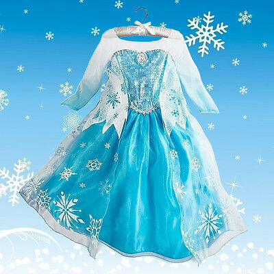 Disney Kids Girls Frozen Elsa Queen ice princess Costume party Snow flake Dress - Snow Queen Elsa Dress
