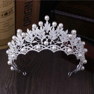 Tiara Cristal Boda Pearl Concursos de Belleza Corona Novia Diadema Estrás