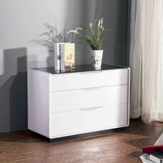 [NEW] Maestro Lowboy Dresser - White High Gloss Black Glass Top Dandenong Greater Dandenong Preview