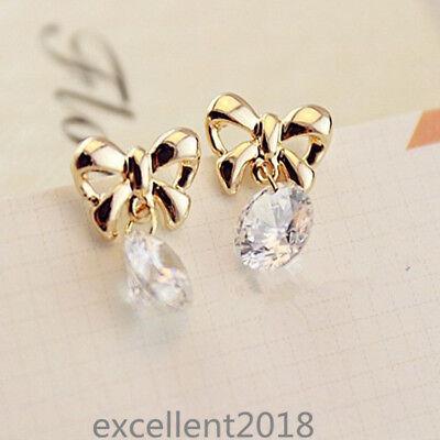 Women Yellow Gold Plated Alloy Cute Bow Cubic Zirconia Drop Dangle Stud Earrings