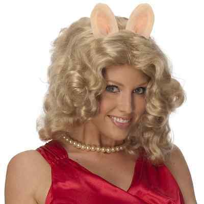 THE MUPPETS MISS PIGGY CURLY BLONDE WIG W/ EARS & PIG NOSE COSTUME ACCESSORY - Muppets Miss Piggy Kostüm