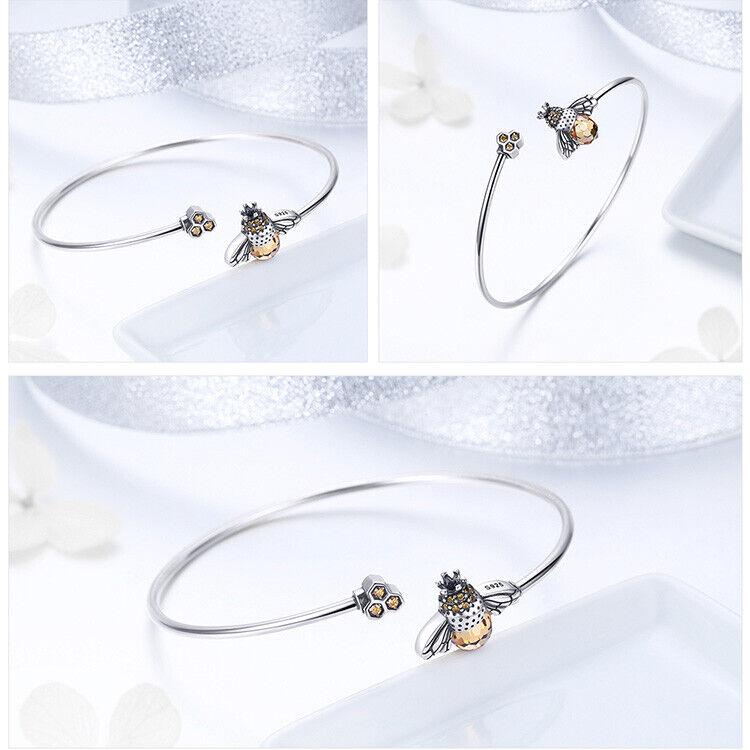 Bee/'s Story 925 Sterling Silver Open Bangle Women Bracelet Crystal Girl Jewelry