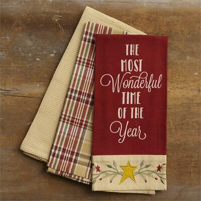NEW!~Primitive Tea Towel~Set of 3~The Most Wonderful Time Of The Year~Christmas (Halloween Most Wonderful Time)