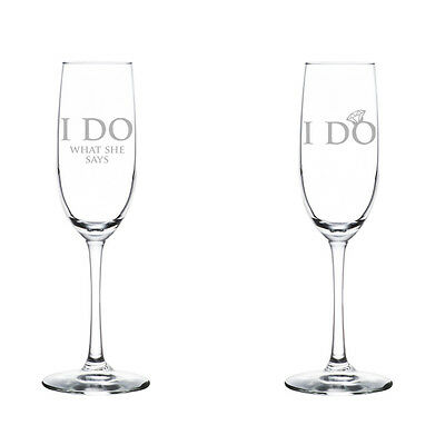 Stemless Flute Glass - Champagne Flute Glass Set of 2 Stemmed Stemless Engagement I Do What She Says