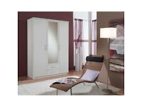 White -- 3 Door Wardrobe + 2 Drawers