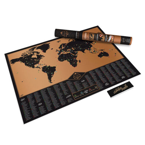 World Map Adventure Scratch Off Deluxe Black Travel Edition Home Wall Decor Art