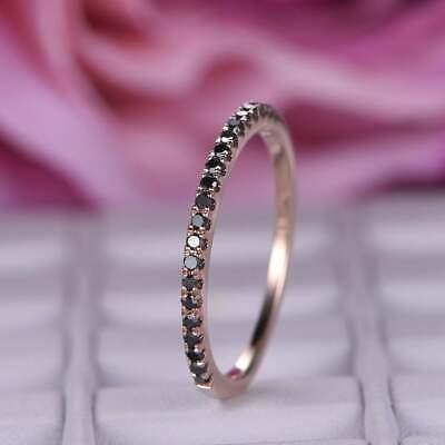 1Ct Round Cut Black Diamond Half Eternity Wedding Band Ring 14K Rose Gold Finish ()