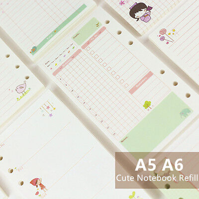 Refillable Pages Binder For Filofax A6 A5 Planner Organizer Refill Insert Paper