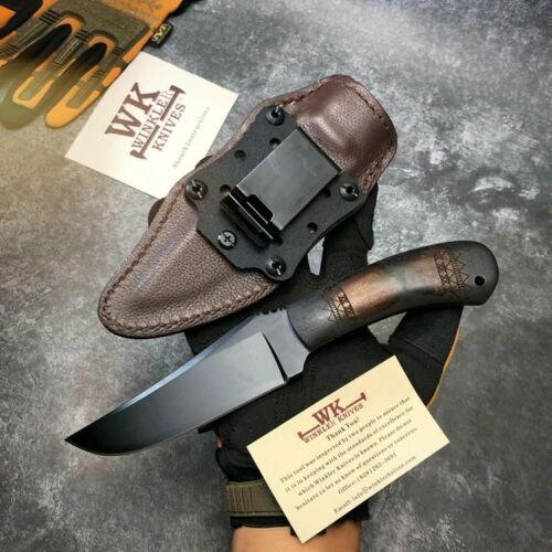Hot Fixed Blade Knife Stone Wash 80crv2 Blade Black Handle Hunting Camp Outdoor