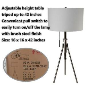 NEW Q-Max SH1228 Mid-Century 32.5-37.5H Adjustable Tripod Table Lamp, Silver Condtion: New