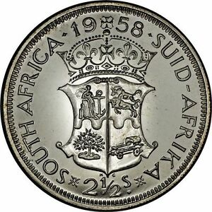 South-Africa-2-1-2-Shillings-1958-Proof-Silver-Mintage-985-amp-Choice-Quality