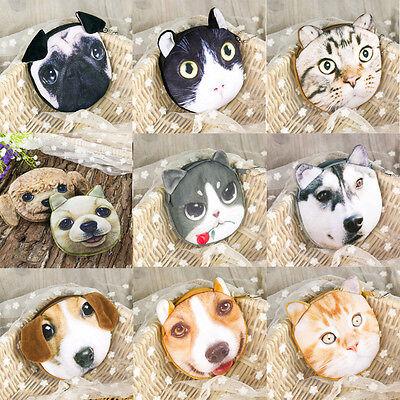 Kids Cat Dog Face Zipper Case Coin Girls Purse Wallet Makeup Bag Pouch Lovely  ()