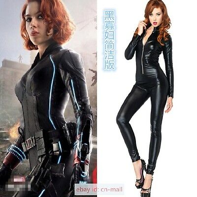 Black Widow Superhero The Avengers Ladies Fancy Dress Halloween cosplay costume