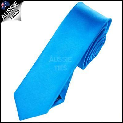 Mens Cobalt Blue Plain Skinny Necktie Cobalt Blue Plain