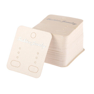 White Earring Stud Cards Tag Jewelry Display Paper Packing 100pcs 54.5cm