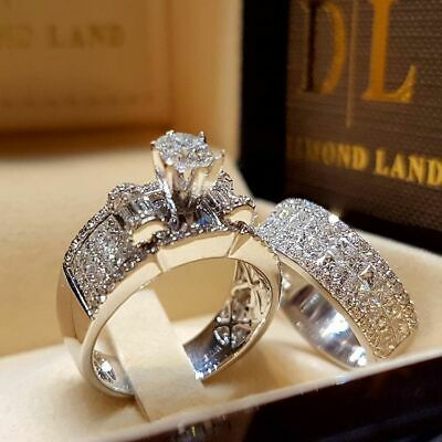 2pcs/set White Sapphire 925 Silver Ring Women Wedding Bridal Jewelry New Sz 5-11 2 Ring Wedding Set