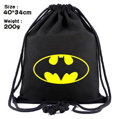 DC Superhero Batman Printed Drawstring Bag Canvas Backpack Lightweight Beam Bags](Batman Bag)