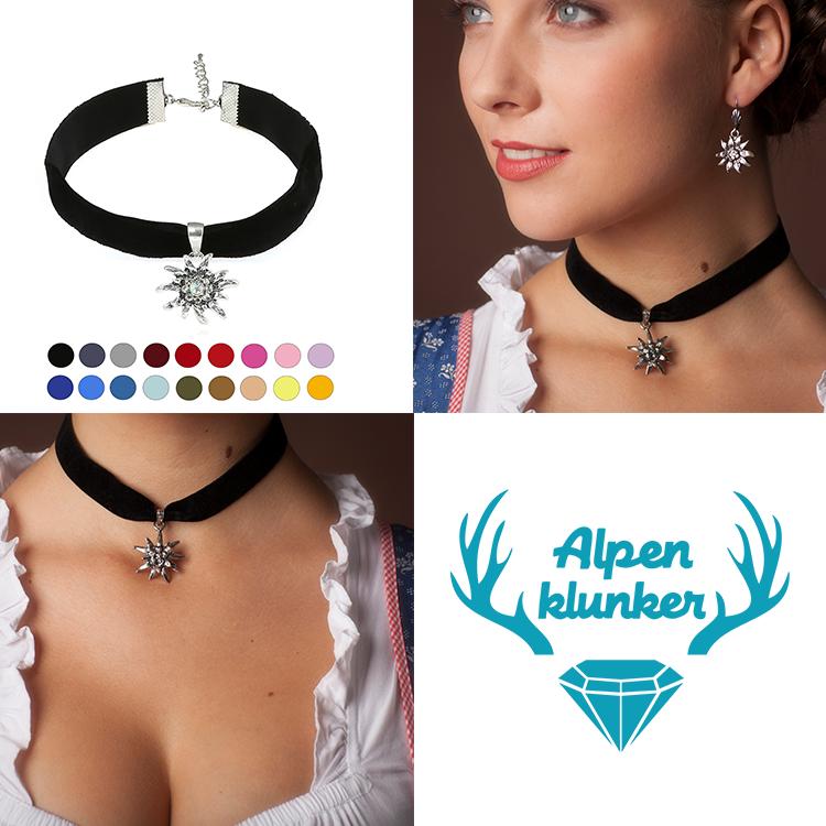Alpenklunker elastisches Halsband Choker Edelweiß Kropfband Dirndl schmuckrausch