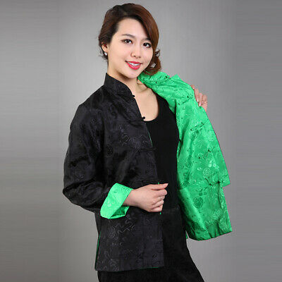 Chinese Traditional Double Face  Jacket Women Silk Satin Coat  Size M-3XL