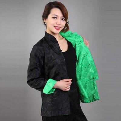 Chinese Traditional Double Face  Jacket Women Silk Satin Coat  Size M-3XL Chinese Silk Coat Jacket