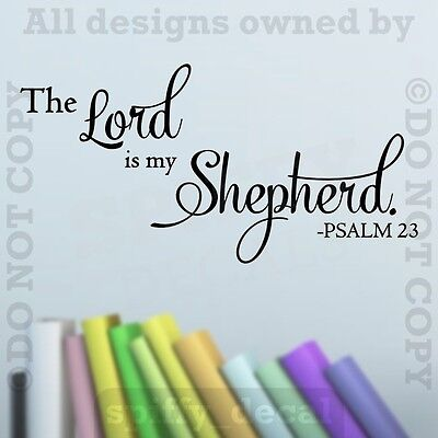 The Lord Is My Shepherd Psalm 23 Quote Removable Vinyl Wall Decal Decor Sticker