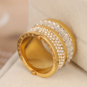 MICHAEL KORS Brilliance Gold Clear Crystal Barrel Ring Size 7