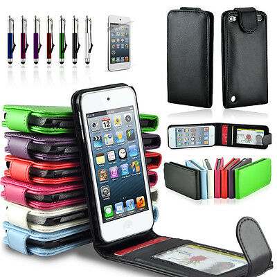 2 x PACK Premium Leather Wallet Flip Credit ID Card Case Cover iPod Touch 5 5TH Ipod Touch 2 Cover