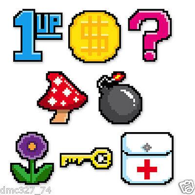 10 Video Game Party Decorations 8 Bit Pixel Power Up Icons Die Cut Mini Cutouts  - 8 Bit Decorations