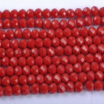 100PcsOpaque Red Quality Czech Crystal Faceted Rondelle Beads 6MM