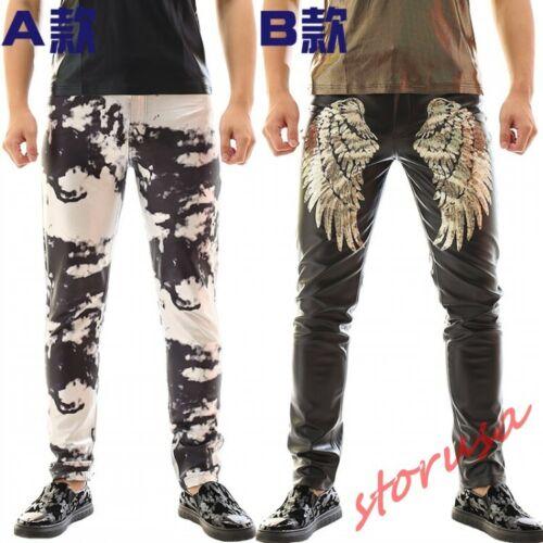 Hip Hop Mens Punk Rock Motocycle Warm Pants Buckle Skinny Straight Leg Trousers