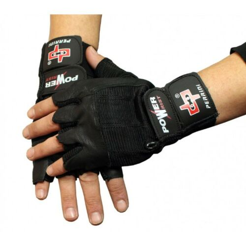 Fingerless Gloves Black Leather Working Out Weight Lifting Gym Wheelchair XL