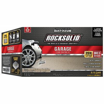 - Rust-Oleum 293517 RockSolid  Garage Floor Coating Mocha Kit 2.5 Car Garage Kit