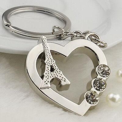 Paris Eiffel Tower Heart Crystal Diamond Pendant Purse Bag Keyring keychain