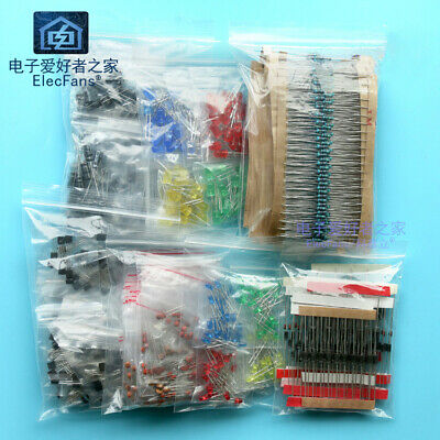 7 Kinds Electronic Components Kit Led Resistor Capacitor Diode Triode Package