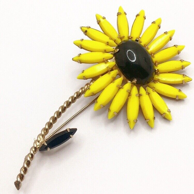 🌻Vintage High End Runway Yellow Rhinestone Flower Brooch Pin Lot B Sunflower