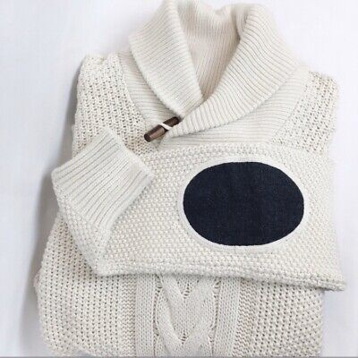 Celio Shawl Collar Sweater with Elbow Patches Men Size Small