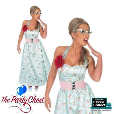 50's Day Outfits (1950s BLUE POLKA DOT DAY DRESS COSTUME Ladies Vintage Fancy Dress Outfit)
