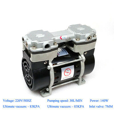 140w Oilless Vacuum Pump 220v With -83kpa Ultimate Pressure 30lmin Air Flow