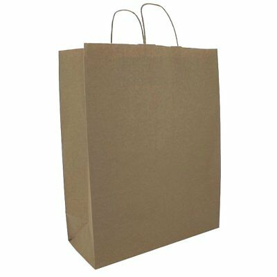 Deli Supplies 25 x Brown Kraft Paper Twist Handle Carrier Bags 320x140x410mm