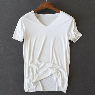 Summer Bamboo - Hot Mens Summer Bamboo Fiber Thin V-Neck Seamless Basic T-Shirts Top Undershirts