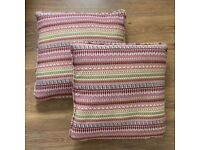 2 x pink multicoloured feather cushions
