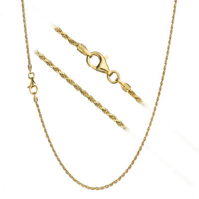 18k Italian Necklace (18K Gold over 925 Sterling Silver 1.7mm Italian Diamond Cut Rope Chain)