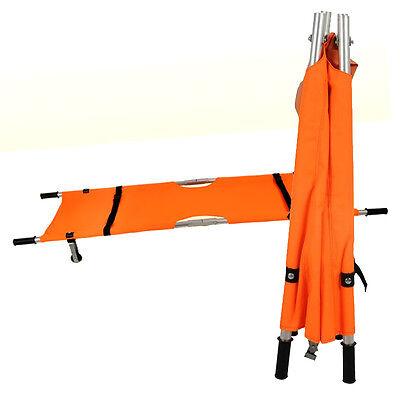 Orange Foldable Medical Emergency Patient Bed Stretcher Belt Wheel Portable Bsp