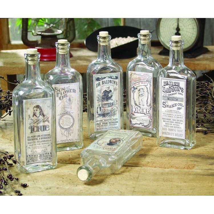 Vintage Glass Remedy Bottles