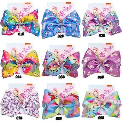 8 Inch JoJo Siwa Hair Bows Rainbow Big Bowknot Hair Pins for Gilrs Gift