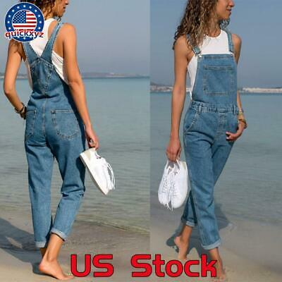 Vintage Overalls & Jumpsuits Womens Baggy Denim Jeans Dungarees Full Length Trousers Pants Overalls Jumpsuit $23.99 AT vintagedancer.com
