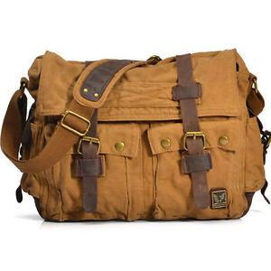 """x large men's vintage canvas leather 17"""" laptop shoulder"""