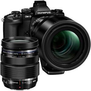 Olympus OM-D E-M1 Twin Lens Kit Inc. 12-40mm f2.8 + 40-150mm f2.8 Lenses - Black