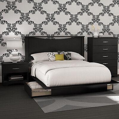 Black 4-Piece Storage Platform Bed Collection Set Home Living Bedroom Furniture Bed Bedroom Collection Collection